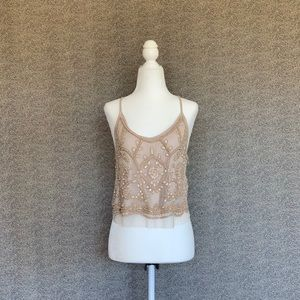 ✨💫Nude Tank top with Beaded Mesh Overlay💫✨